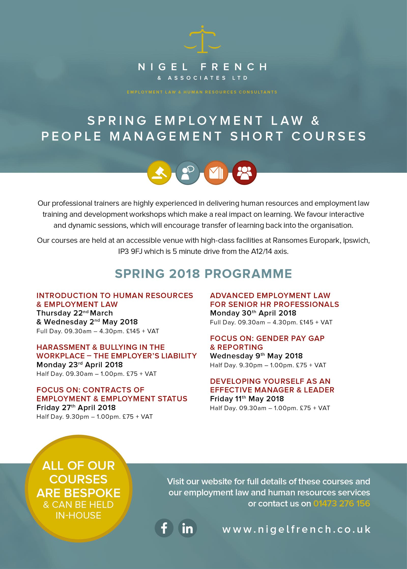 Spring 2018 employment law and people management courses